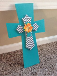 Wooden Chevron Cross Wall Hanging