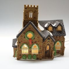 Vintage Knottinghill Church, Dickens Village Series Hand Painted Porcelain. Made Exclusively for Department 56 #PocelainAccessories #Porcelain #PaintedPorcelain #Models #ChristmasGifts #DickensVillage #Christmas #Handpainted #Department56 #VillageSeries Painted Porcelain, Hand Painted, Knotting Hill, Model Village, Dickens Village, Department 56, Edinburgh, Art Deco, Models