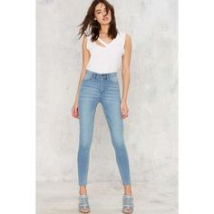 Cheap Monday High Spray Skinny Jeans ($75) ❤ liked on Polyvore featuring jeans, skinny jeans, high waisted jeans, stone washed jeans, denim skinny jeans and high waisted stretch jeans