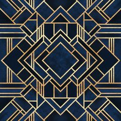 Symmetrical art deco design of dark blue shapes bordered with intricate gold lines. Art Deco Blue Wall Art by Elisabeth Fredriksson from Great BIG Canvas. Motif Art Deco, Art Deco Design, Art Deco Print, Art Deco Borders, Art Deco Fabric, Art Deco Bar, Art Deco Rugs, Art Deco Decor, Art Deco Home