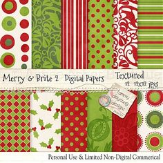 "Digital Christmas Paper ""Merry & Brite 2"" :: Digital Scrapbooking :: Aimee Asher Boutique"