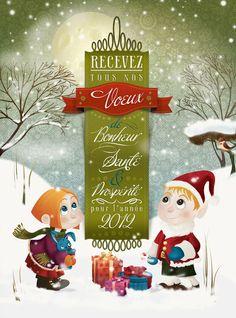Christmas card : carte de voeux de Noël Les doigts agiles: illustration vectorielle