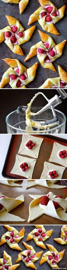 Raspberry Cream Cheese Pinwheel Pastries (fancy chocolate desserts patisserie)