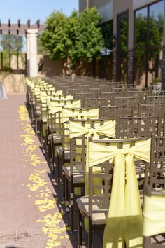 Outdoor summer wedding ceremony decor idea - yellow ribbons tied to outside chairs + yellow flower petals {Monique Hessler Photography}