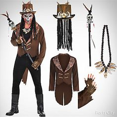Mens Witch Doctor Costume Idea Diy Voodoo Doll Costume, Witch Doctor Costume, Voodoo Halloween, Scary Halloween Costumes, Cool Costumes, Halloween Decorations, Halloween 2018, Halloween Stuff, Halloween Ideas