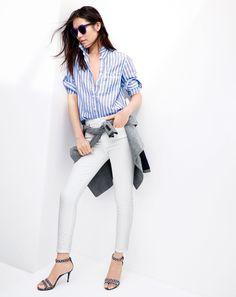 J.Crew women's long boy shirt in stripe, lookout high-rise crop jean in white, Illesteva Leonard II sunglasses and ankle strap heels...