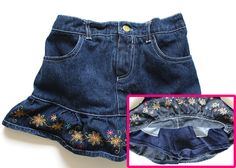 Disney Princess Denim Skirt w/ Shorts 6 Girls Ruffle Embroidered Floral #Disney #denimskirt #girlsskirt #disneyprincess