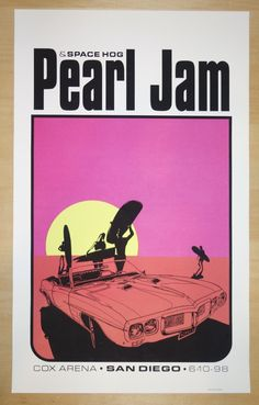 1998 Pearl Jam - San Diego Silkscreen Concert Poster by Ames