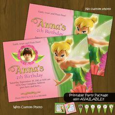 Printable Tinkerbell Girls Birthday Party Invitation Custom