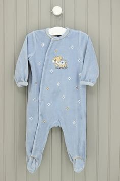 Little Me Size 9M Fleece Puppy Footed Pajamas