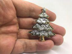 Vintage Green Enamel Silver Glitter Christmas Tree BROOCH PIN Gold Tone  #Brooch