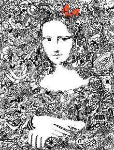 """Mona Lisa 2"" - doodle art by GRIBOUILLIZ – Johanna Reynaud, via Tú Lisa, yo Conda"