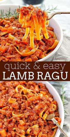 Quick Lamb Ragu - this is ground lamb ragu recipe that is quick & easy enough to cook up on weeknight. Packed with spices, serve it with pasta, gnocchi, polenta or even mashed potato for a complete meal! Lamb Mince Recipes, Easy Lamb Recipes, Ground Lamb Recipes, Quick Pasta Recipes, Cooking Recipes, Rabbit Recipes, Cooking Pasta, Budget Recipes, Meat Recipes