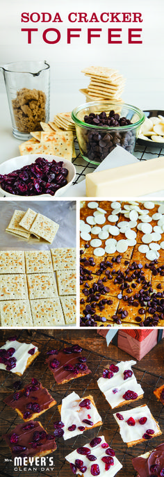 Salty crackers, chocolate chips and tangy cranberries combine in this tasty soda cracker toffee recipe guaranteed to take your holiday baking game up a few notches. @SweetPaul