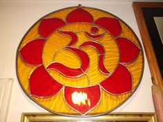 """STAINED GLASS AMAZING Sacred Geometry OM for your hOMe""""Celtic Yantra~MEDIUM SIZE"""