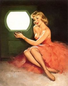 'Good Looking' - pin up art by Gil Elvgren, 1950. At first I thought she was inside of an airplane and she was in front of a window. Then I realized it was a TV.Then I realized, back in her day, TV was a portal. Not a distraction, a voyage.
