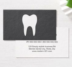White tooth gray texture minimalist dentist dental business cards. Modern, simple yet elegant minimalistic dentist profile or business card featuring a white silhouette of a tooth on a dark gray, striped texture background. Customizable contact information on the back, gray and orange text.