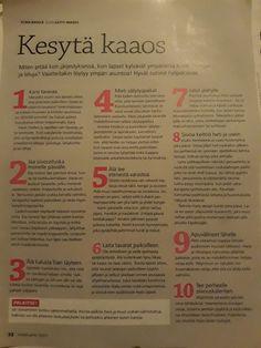 Kesytä kaaos -vinkkejä, Mp 2/2011