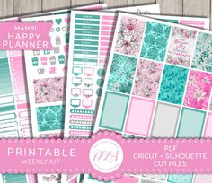 Happy Planner Floral Stickers, Weekly Planner Stickers, Happy Planner Printable Kit, Floral Planner Stickers, Cut File Stickers, Mambi HP123