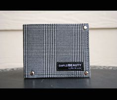 Handmade Plaid Suiting fabric bifold men's wallet - black leather interior