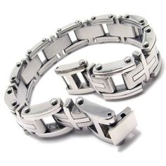 80% Off was $84.99, now is $16.99! KONOV Heavy Cross Stainless Steel Men`s Bracelet, Silver, 9 Inch (with Gift Bag)