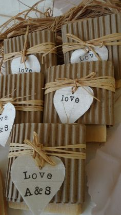 Rustic wedding favors.
