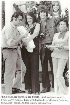 FAME January 1989 Carly Simon The Simon family in 1969 Joanna, Lucy, Peter, Andrea Julie