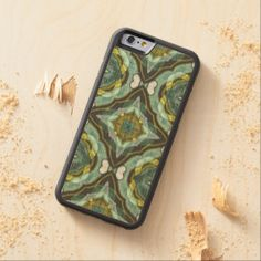 Teal Turquoise Sea Foam Nouveau Deco Pattern Carved® Maple iPhone 6 Bumper Case