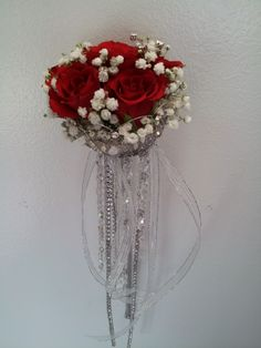 scepter bouquet - red roses, baby's breath, and crystal jewels