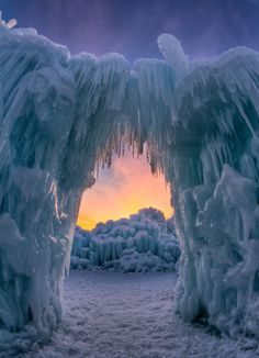 """Ice Arch"" -- [Sunset under Icicle Arch within Midway, Utah - Ice Castles]~[Photographer Bill Church - February 28 All Nature, Amazing Nature, Beautiful World, Beautiful Places, Wonderful Places, Amazing Places, Places Around The World, Around The Worlds, Ice Castles"