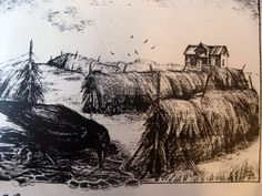 """Illustrasjon til """"Huset med den blinde glassveranda"""". Printmaking, Den, Painting, Art, Painting Art, Printing, Paintings, Graphics, Carving"""