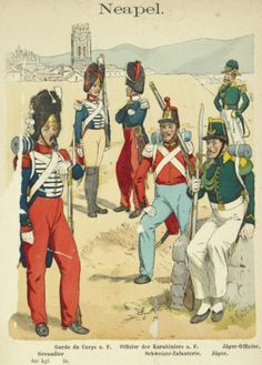"""Hand Colored Print from """"Uniformenkunde"""" by Richard Knotel: Neapel. 1859 in Art, Art from Dealers & Resellers, Prints Military Art, Military History, Military Uniforms, Two Sicilies, Italian Army, National History, Napoleonic Wars, European History, Modern Warfare"""