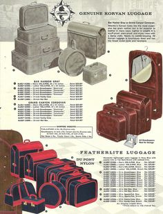 1950s catalog page showing different types of Atlantic luggage. #vintage #1950s #travel #suitcases
