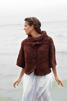 Ravelry: Selkie pattern by Melissa Schaschwary....... but mine would have longer sleeves ...... if I am this warmed in winter, why would I want chilled arms  :-)