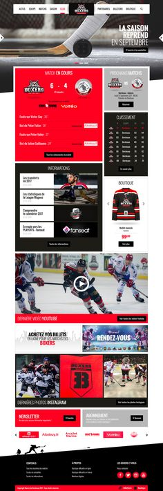 Direction Artistique et déclinaison du site des BOXERS de Bordeaux - #hockey #bordeaux #boxers #artdirection #directionartistique #website #tripeen #web #photoshop #graphic #design #graphicdesign