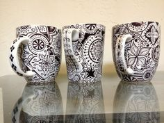 Hand-decorated Mug. Apparently you can use sharpie on store-bought mugs & bake at 450 for 30min. to cure...?? MUST TRY.