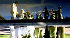 A muslim wedding reflected in a fish pond at the Company Gardens in Cape Town