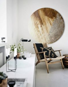 Large Circular Canvas Wall Art with caramel tones. An original design from our collection of contemporary circular art. See our full collection on our 'Silver Wall Art' website. www.silverwallart.co.uk