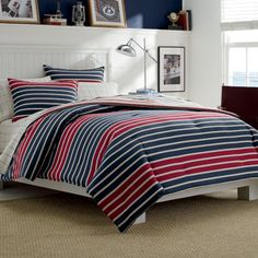 Twin Teen Comforter Set (Nautica Casco Bay) Red/White/Blue