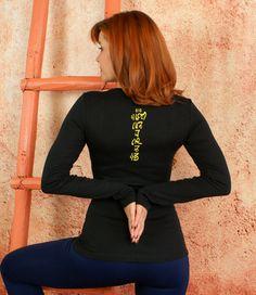 Om Mani Padme Hum- Black and yellow Long Sleeve Scoop Neck #TeeShirt Sexy Soft Athletic #Yoga Pilates by #GoddessGearDesigns $25.00