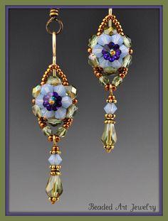 Beadwoven Beaded Beadwork Crystal Flower