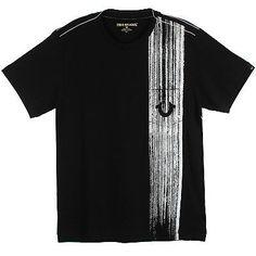 True Religion Brush Stroke Tee Mens MC462TS22-BK Black Graphic T-Shirt Size XL