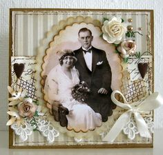 Heritage wedding portrait page with dimensional flowers, lace and ribbon embellishments.