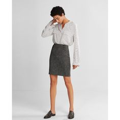 Express High Waisted Tweed Corset Pencil Skirt ($42) ❤ liked on Polyvore featuring skirts, grey, tweed pencil skirts, grey tweed skirt, grey pencil skirt, tweed skirt and high-waisted skirt