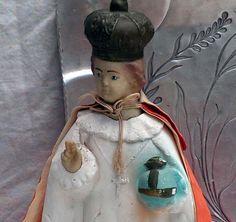 Infant Jesus Of Prague Vintage Sacred Relic Red & White Satin Raiment  Chalk Ware Mid Century by SurrenderDorothy on Etsy https://www.etsy.com/listing/103111281/infant-jesus-of-prague-vintage-sacred