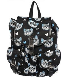"Sac à dos Rockabilly Kawaii Banned ""Blue Kittie"" Rucksack Backpack, Canvas Backpack, Style Rockabilly, Rockabilly Fashion, Kitty Backpack, Sugar Skull Cat, Sugar Skulls, Snap Bag, Faux Leather Backpack"