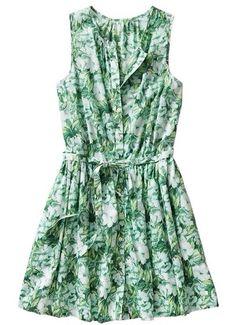 New- Gap Summer 2014 Tropical Floral Green Leaf Print Dress #GAP. Bought in grey!