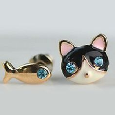2012 New Korean Jewelry Small Female Cat And Fish Earring E571 – USD $ 0.59