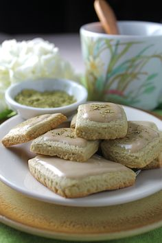 Matcha Shortbread Cookies with Maple Glaze