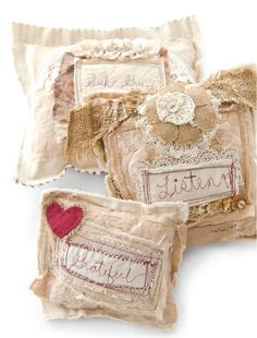 Jean Rubman's little pillows are each stitched with a word to inspire enjoyment throughout the day. | Sew Somerset
